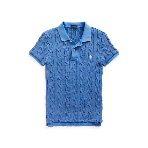 폴로 랄프로렌 Polo Ralph Lauren Cable Knit Polo Shirt,Keel Blue