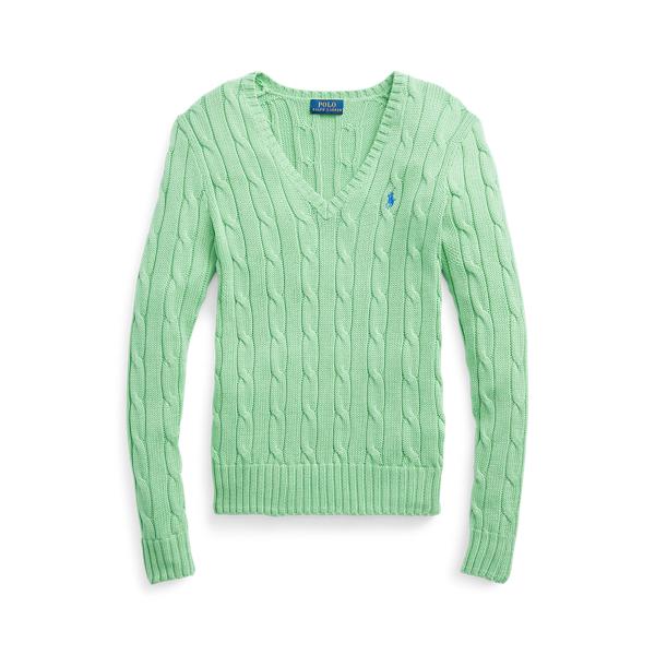 폴로 랄프로렌 Polo Ralph Lauren Cable Knit Cotton V Neck Sweater,Bud Green