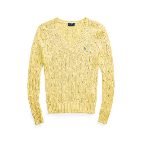 폴로 랄프로렌 Polo Ralph Lauren Cable Knit Cotton V Neck Sweater,Bristol Yellow