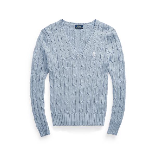 폴로 랄프로렌 Polo Ralph Lauren Cable Knit Cotton V Neck Sweater,Pale Blue