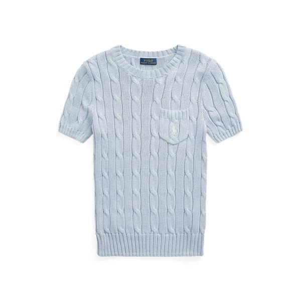폴로 랄프로렌 Polo Ralph Lauren Cable Knit Short Sleeve Sweater,Pale Blue