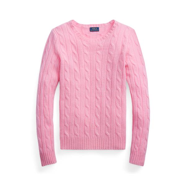 폴로 랄프로렌 Polo Ralph Lauren Cable Knit Cashmere Sweater,Harbor Pink
