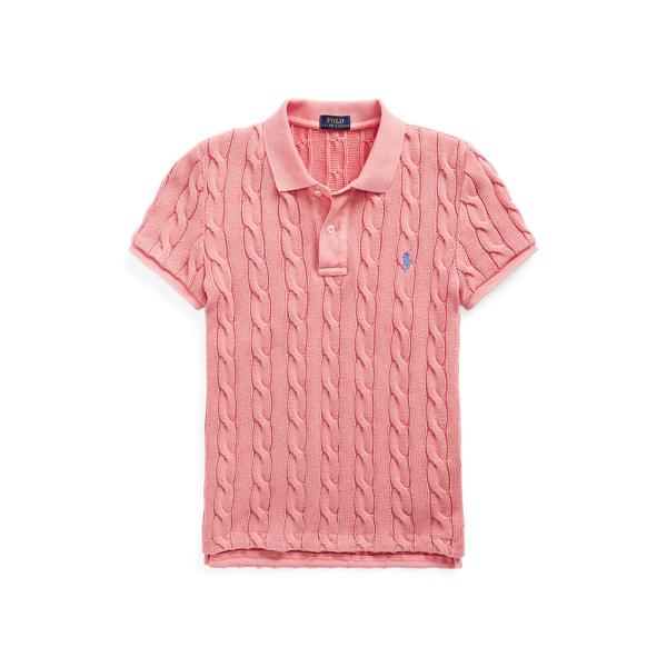 폴로 랄프로렌 Polo Ralph Lauren Cable Knit Polo Shirt,Ribbon Pink
