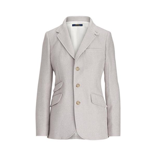폴로 랄프로렌 Polo Ralph Lauren Herringbone Cotton Blazer,Lavendar/Cream Tweed
