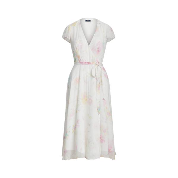 폴로 랄프로렌 Polo Ralph Lauren Floral Crinkle Wrap Dress,Pink Petal Floral