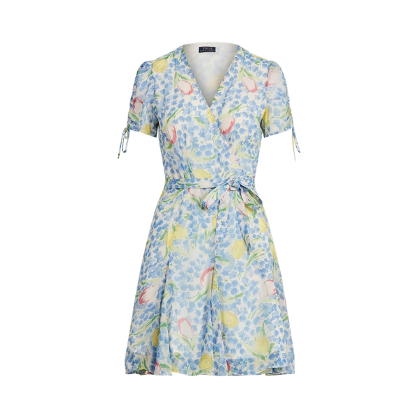 폴로 랄프로렌 Polo Ralph Lauren Floral Print Crinkle Wrap Dress,Blue Tulip Print