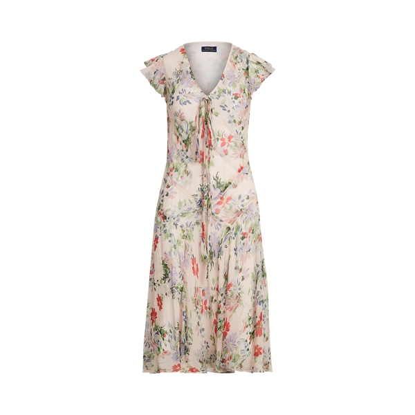 폴로 랄프로렌 Polo Ralph Lauren Floral Flutter Sleeve Dress,Scatter Summer Floral