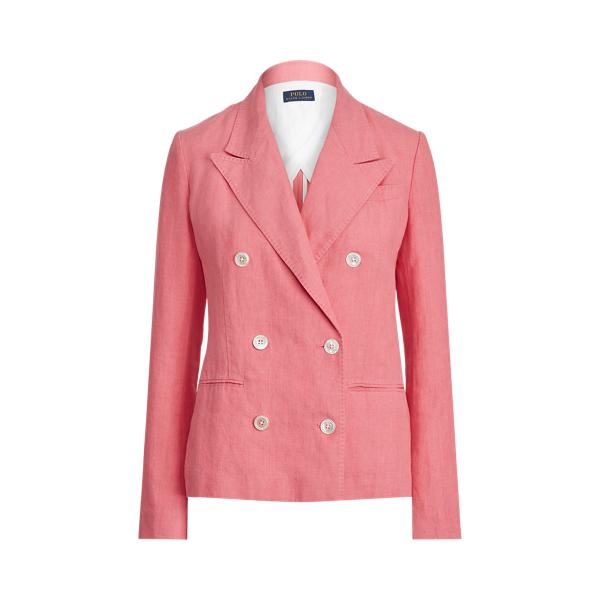 폴로 랄프로렌 Polo Ralph Lauren Double Breasted Linen Blazer,Ribbon Pink