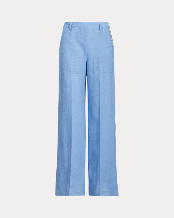Buttoned-Placket Linen Trouser