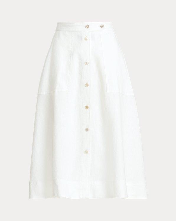 Buttoned Linen Skirt
