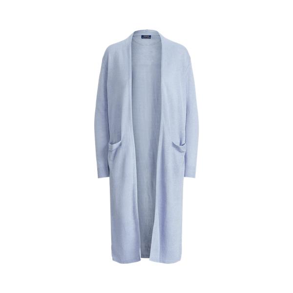 폴로 랄프로렌 Polo Ralph Lauren Linen Open Front Cardigan,Light Blue