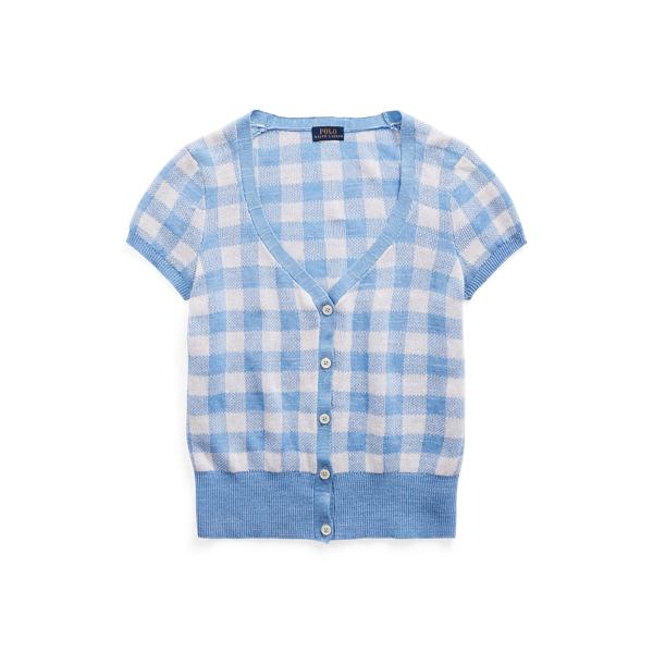 폴로 랄프로렌 Polo Ralph Lauren Gingham Short Sleeve Cardigan,Blue/White Gingham