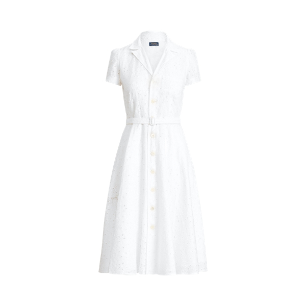 폴로 랄프로렌 Polo Ralph Lauren Linen Eyelet Belted Dress,White