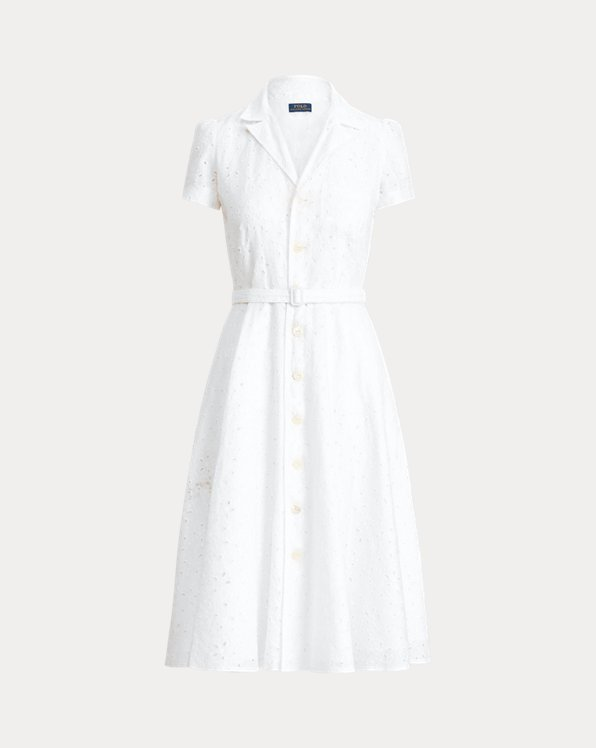 Linen Eyelet Belted Dress