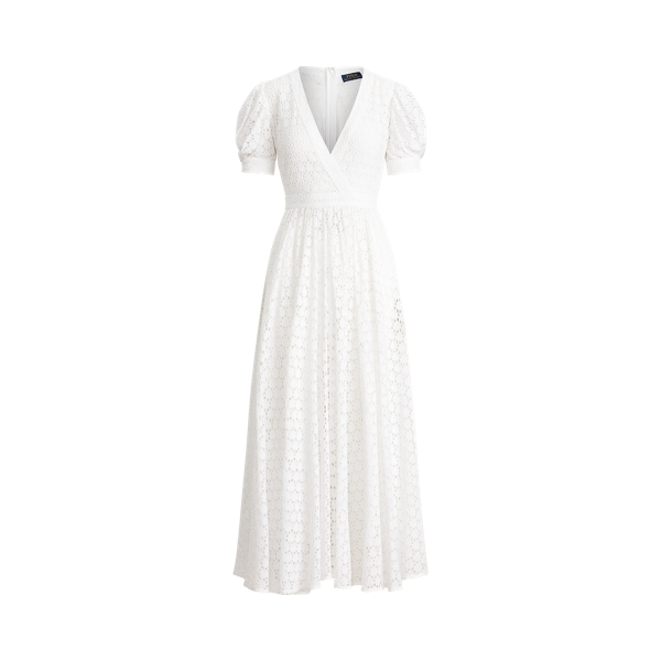폴로 랄프로렌 Polo Ralph Lauren Eyelet Cotton A Line Dress,White