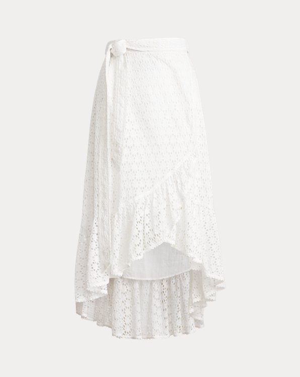 Eyelet Cotton Wrap Skirt