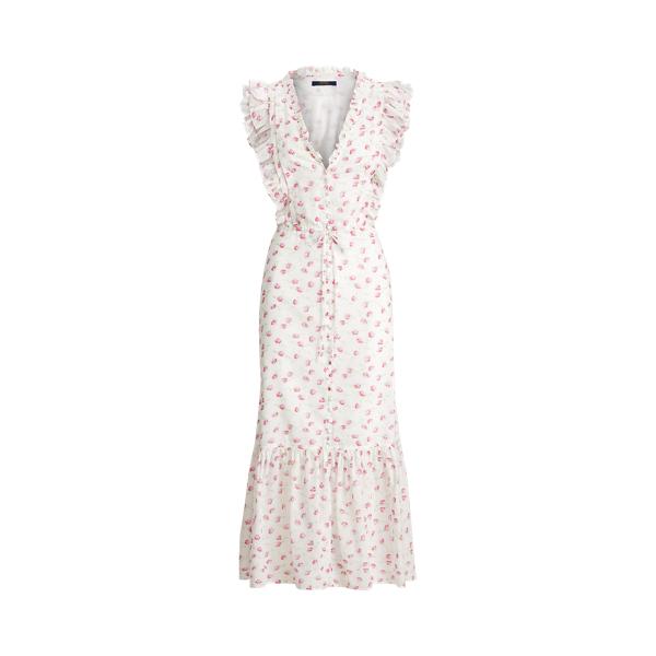 폴로 랄프로렌 Polo Ralph Lauren Floral Buttoned Cotton Dress,Summer Purple Floral