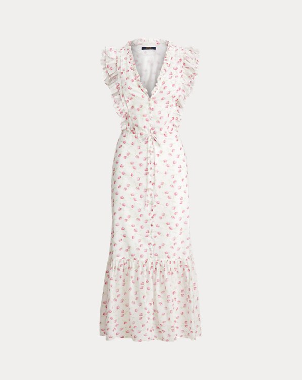 Floral Buttoned Cotton Dress