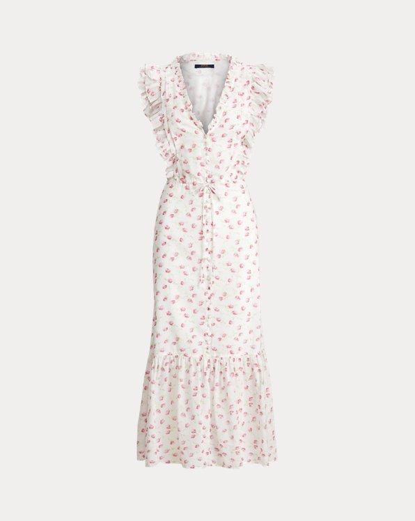 Vestido de algodón abotonado floral