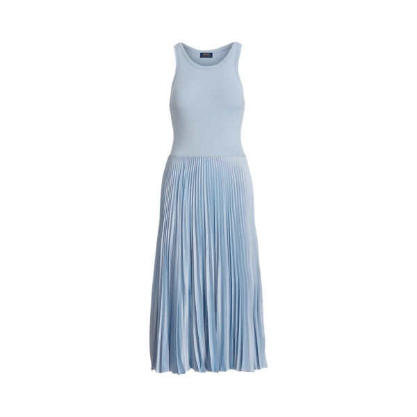 폴로 랄프로렌 Polo Ralph Lauren Pleated Sleeveless Dress,Pale Blue