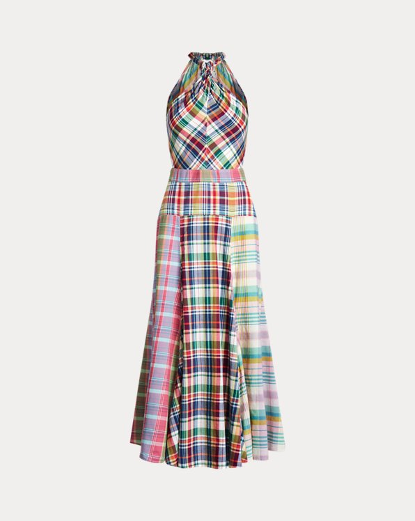 Cotton Madras Halter Dress