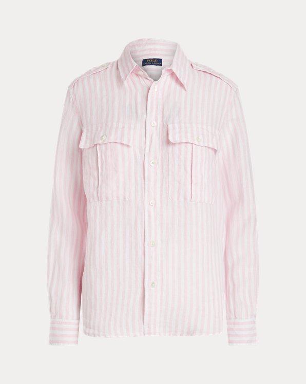 Chemise à poches appliquées en lin