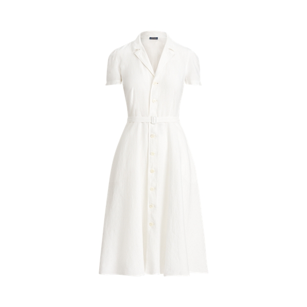 폴로 랄프로렌 Polo Ralph Lauren Buttoned Placket Linen Dress,White