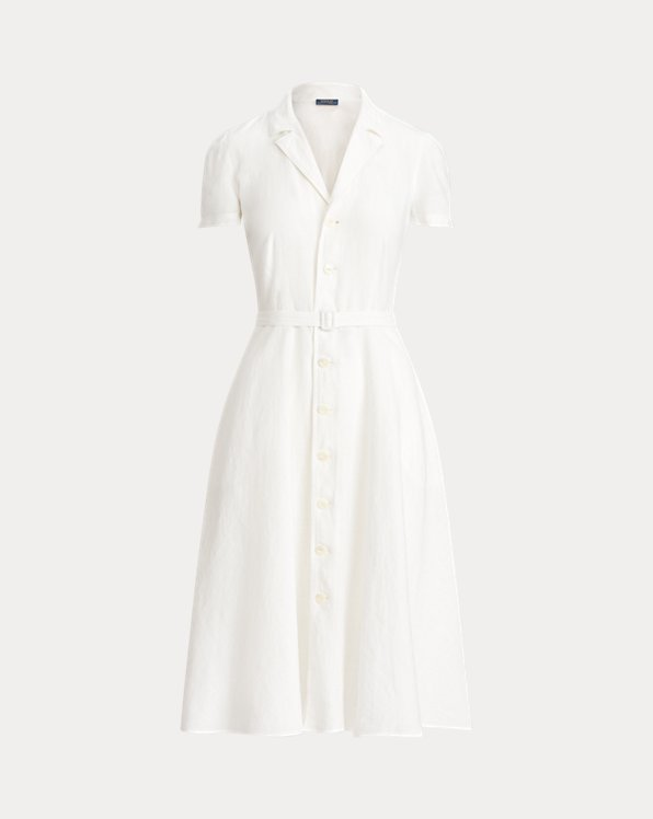 Buttoned-Placket Linen Dress