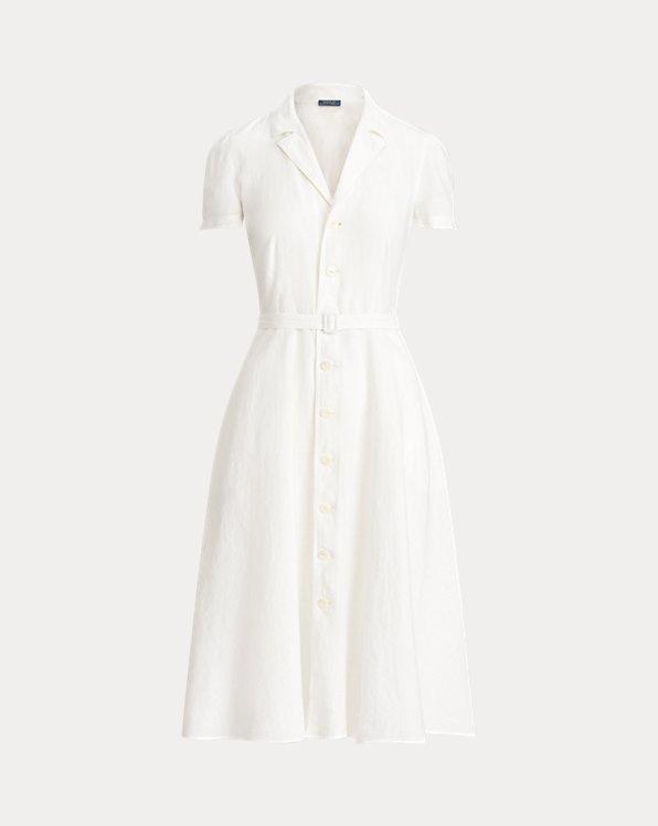 Vestido de lino con tapeta abotonada