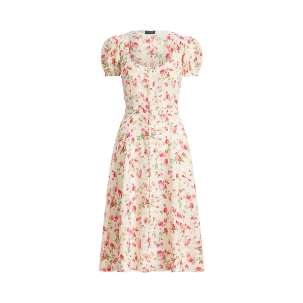 폴로 랄프로렌 Polo Ralph Lauren Floral Belted Linen Dress,Sweet Pea Print