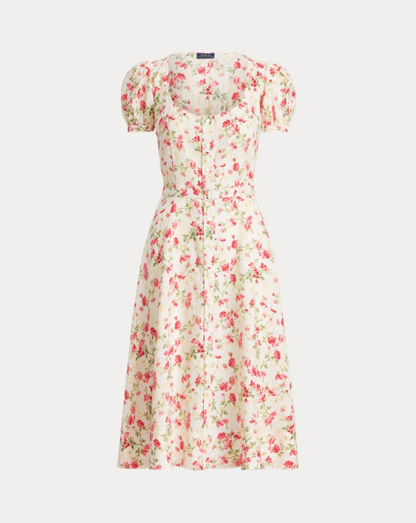 Floral Belted Linen Dress