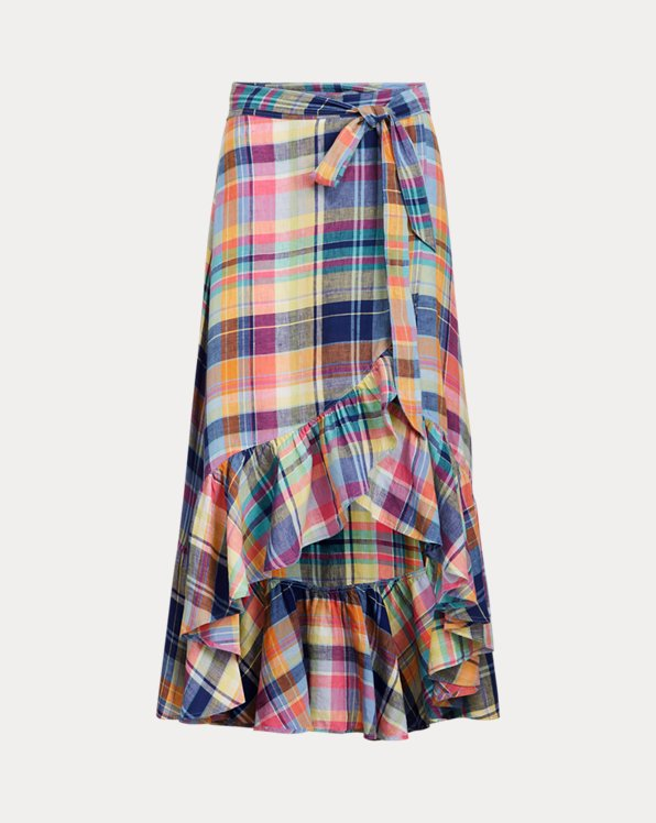 Madras Linen Wrap Skirt