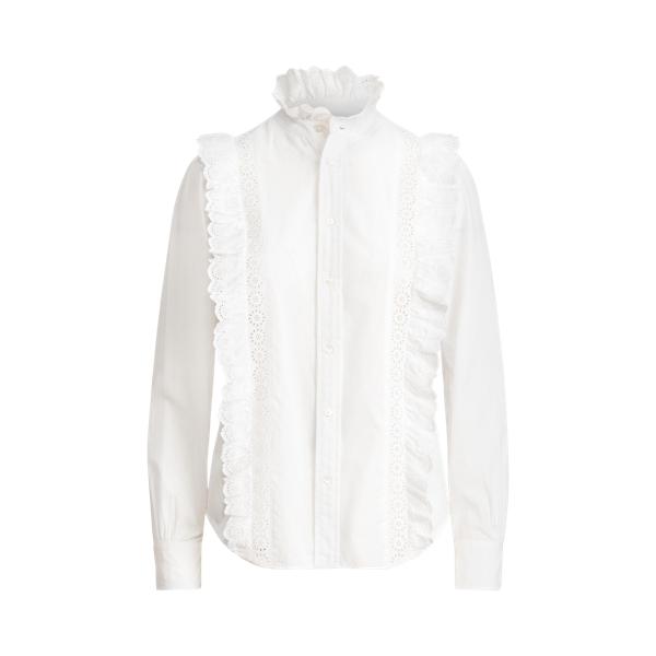 폴로 랄프로렌 우먼 러플 셔츠 - 화이트 (크리스탈 정수정 착용) Polo Ralph Lauren Ruffle Trim Cotton Poplin Shirt