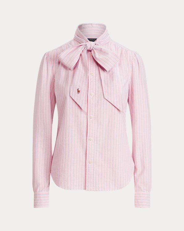Cotton Oxford Tie-Neck Shirt