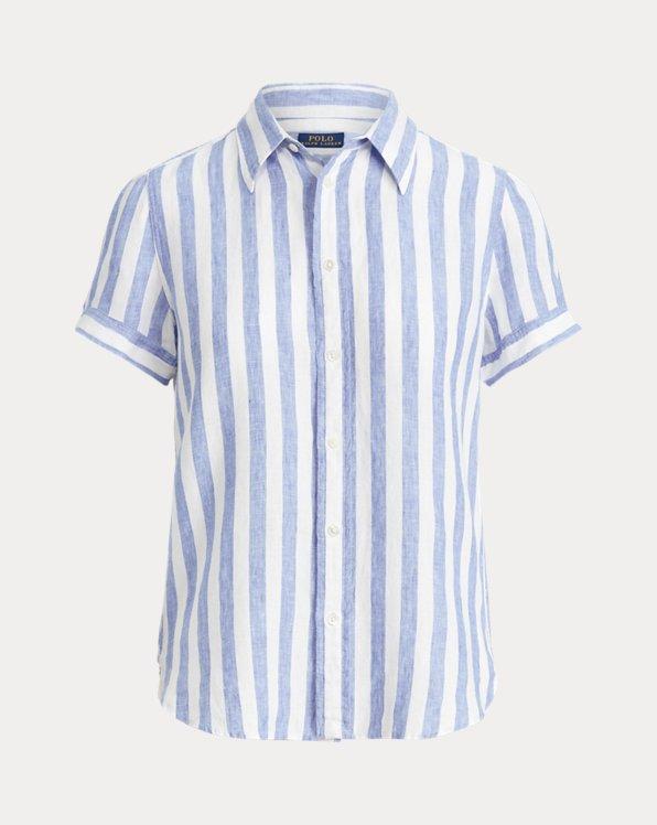 Striped Linen Short-Sleeve Shirt