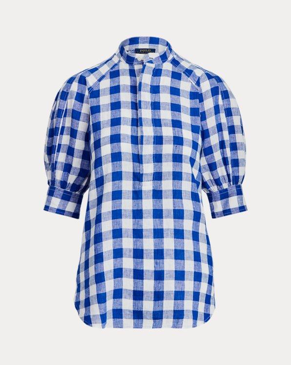 Blusa de lino con cuadros vichy