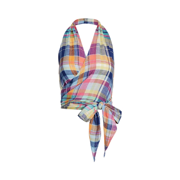 폴로 랄프로렌 마드라스 린넨 홀터 탑 (정수정 착용) Polo Ralph Lauren Madras Linen Halter Top