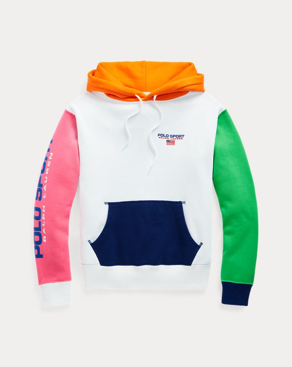 Colour-Blocked Logo Fleece Hoodie