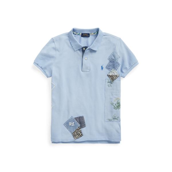 폴로 랄프로렌 Polo Ralph Lauren Patchwork Cotton Polo Shirt,Chambray Blue