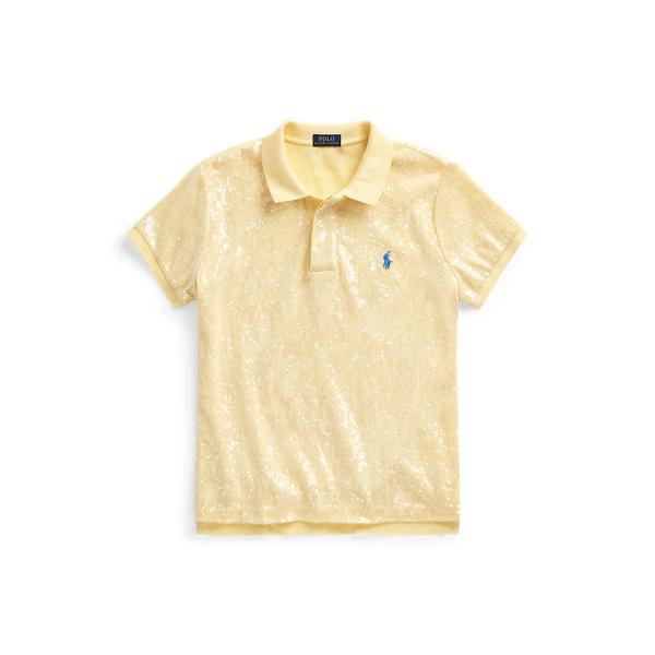 폴로 랄프로렌 Polo Ralph Lauren Sequined Polo Shirt,Wicket Yellow