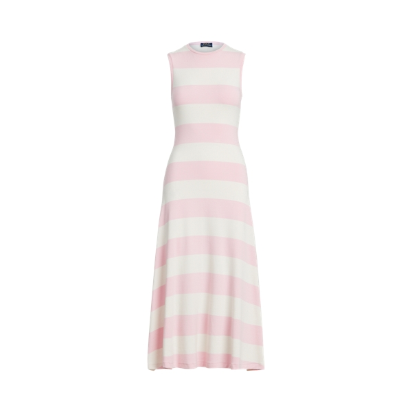 폴로 랄프로렌 Polo Ralph Lauren Striped Sleeveless Dress,Bathpink/ Deckwash White