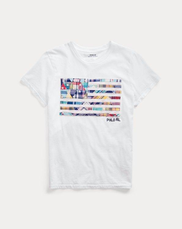 Camiseta de algodón bandera de madrás