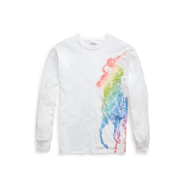 폴로 랄프로렌 Polo Ralph Lauren Ombre Pony Long Sleeve Tee,White