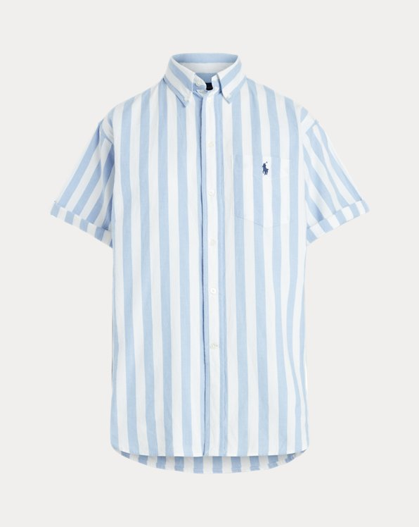 Striped Short-Sleeve Oxford Shirt