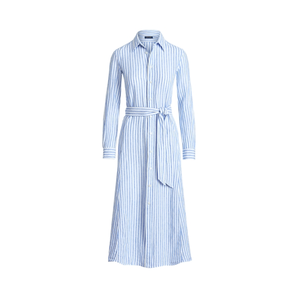 폴로 랄프로렌 Polo Ralph Lauren Striped Linen Shirtdress,White/Medium Blue
