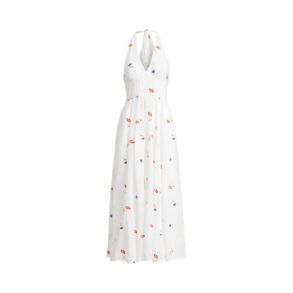 폴로 랄프로렌 Polo Ralph Lauren Embroidered Cotton Halter Dress,Poppy Pompom