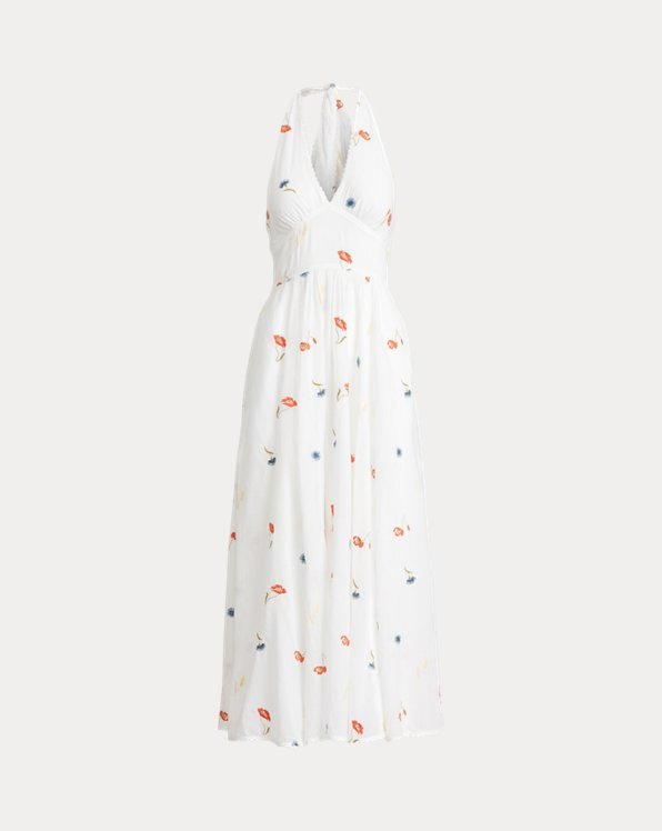 Embroidered Cotton Halter Dress