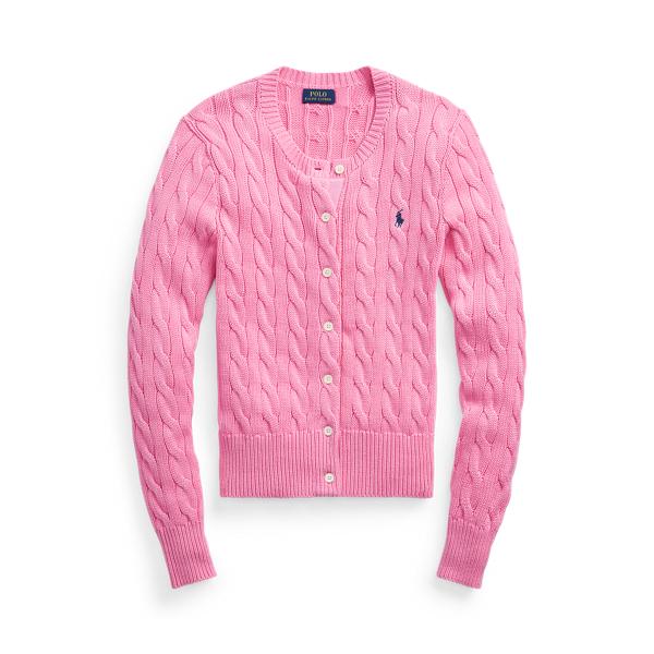 폴로 랄프로렌 Polo Ralph Lauren Cable Knit Cotton Cardigan,Harbor Pink