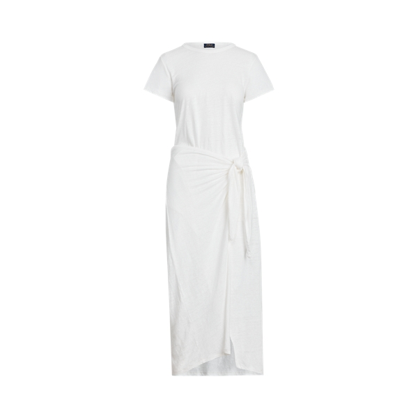 폴로 랄프로렌 Polo Ralph Lauren Linen Tee Wrap Dress,White