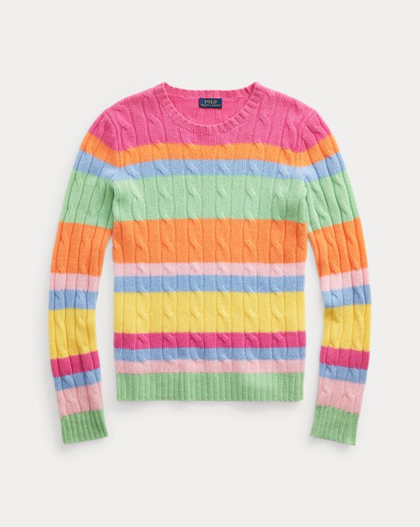 Striped Cable-Knit Cashmere Sweater